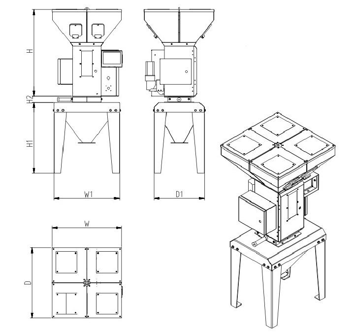 称重式拌料混合机——带料斗吸料盒